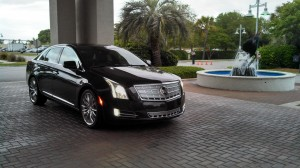 The 2013 Cadillac XTS Platinum upon arrival at the Charleston Harbor Resort & Marina.